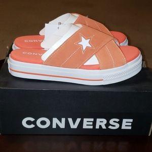 Converse One Star Slide Sandals 6.5 Orange